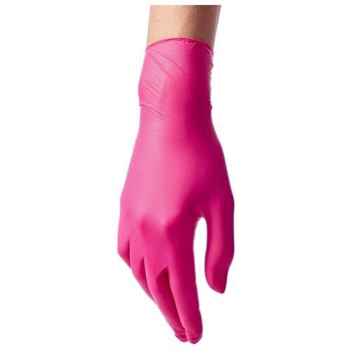Перчатки Benovy нитриловые одноразовые с текстурой на пальцах, 50 пар, размер M, цвет фуксия