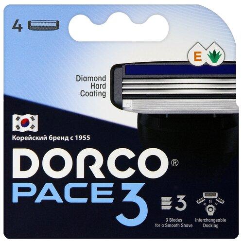 Сменные кассеты Dorco PACE3 (4 кассеты), 3-лезвийные, увл.полоса, крепление PACE