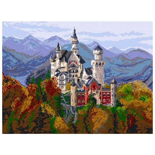 Замок в Баварии Рисунок на канве 37/49 37х49 (30х40) Матренин Посад 1898