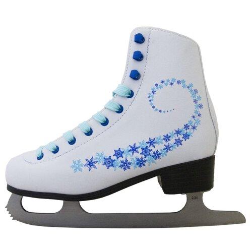 Фигурные коньки Novus AFSK-20 белый/голубой/сине-голубые звезды р. 39 по цене 2 001