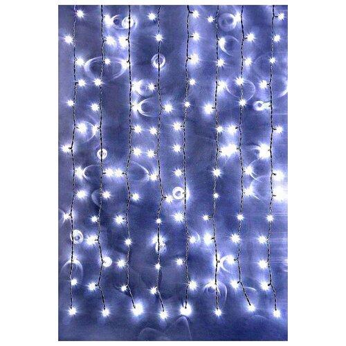 Занавес световой PLAY LIGHT, 200 холодных белых LED ламп, 2x1 м, прозрачный провод, коннектор, уличный, BEAUTY LED PCL20