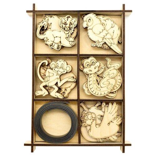 Купить L-1451 Деревянная заготовка ' Набор животных ' с магнитом 14, 2*20*1, 9см Астра, Astra & Craft, Декоративные элементы и материалы
