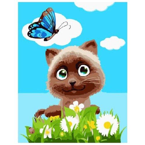 Купить Картина по номерам Paintboy Котик в цветах , 20x30 см, Картины по номерам и контурам