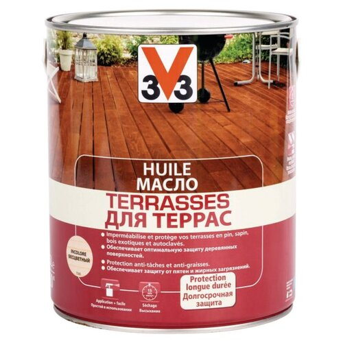 Масло V33 для террас, бесцветный, 2.5 л
