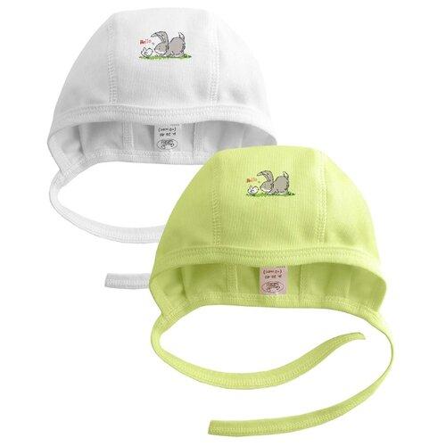 Купить Чепчик Наша мама размер 42-44(74), белый/салатовый, Головные уборы