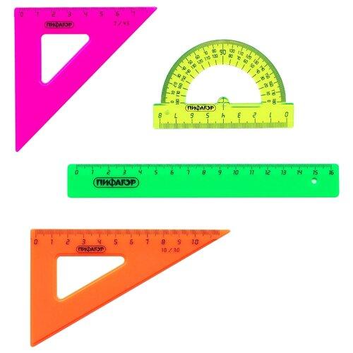 Пифагор Набор чертежный 4 предмета (210624) желтый/оранжевый/зеленый/розовый шторы рулонные ролло идея рулонная штора ролло lux samba цветы зеленый оранжевый желтый 160 см