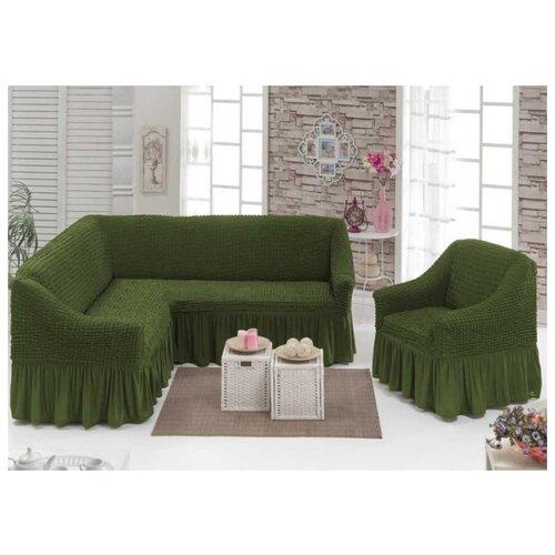 Чехлы на угловой диван и кресло, цвет: зеленый