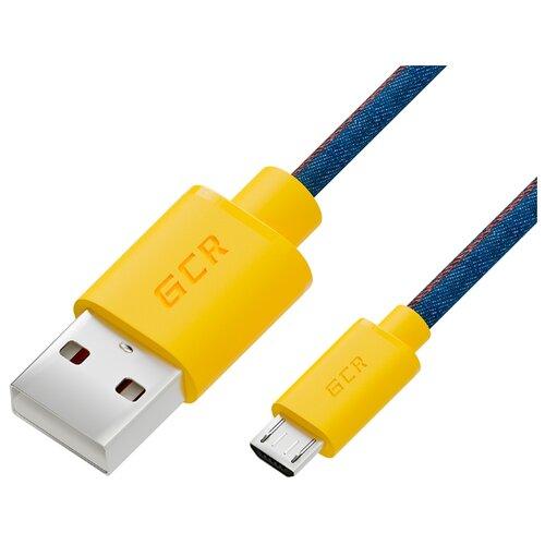Кабель GCR USB - microUSB (GCR-50700) 1.5 м синий/желтый кабель gcr usb 2 0 am usb 2 0 am gcr um4mf bd 1 8 м синий