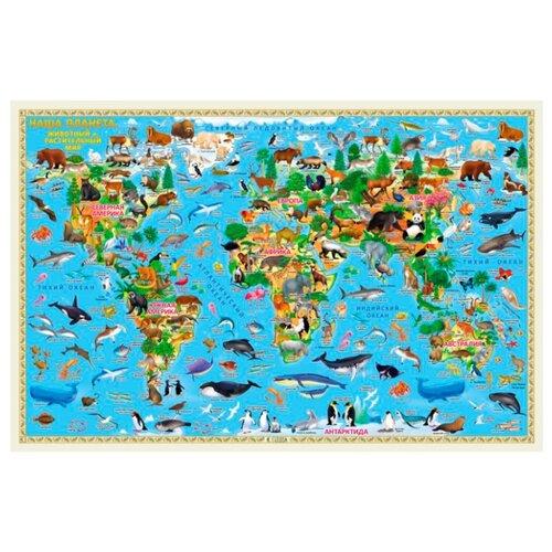 ГеоДом Карта Мира настенная Наша планета Животный и растительный мир (4607177454108)