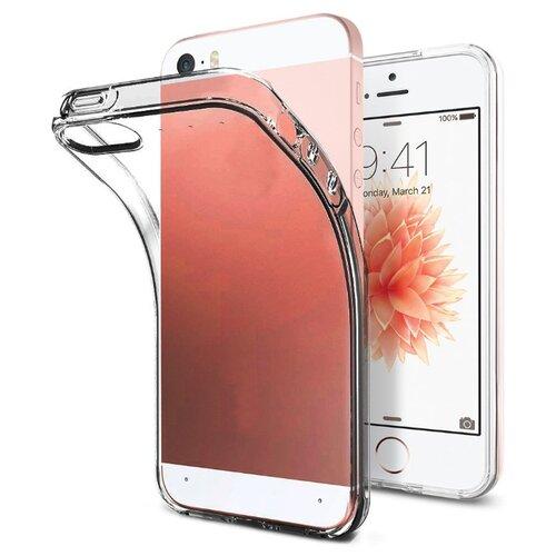 Прозрачный силиконовый чехол для Apple iPhone 5, iPhone 5S и iPhone SE / Прозрачный чехол для Эппл Айфон 5, Айфон 5С и Айфон СЕ / Ультратонкий Premium силикон с протекцией от прилипания (Черный)