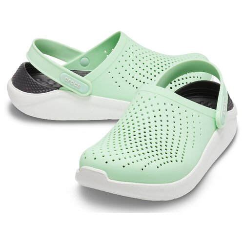 сабо женские crocs classic mammoth luxe цвет черный 204211 001 размер m7 w9 39 40 Сабо Crocs LiteRide Clog, размер 39(W9), neo mint/almost white