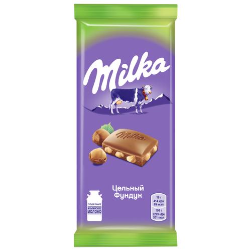 шоколад milka молочный 90 г Шоколад Milka молочный с цельным фундуком, 90 г