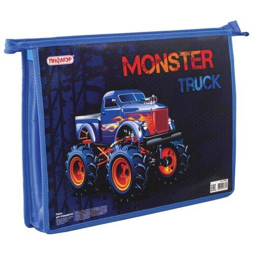 Купить Пифагор Папка для тетрадей Monster truck А4, молния синий, Файлы и папки