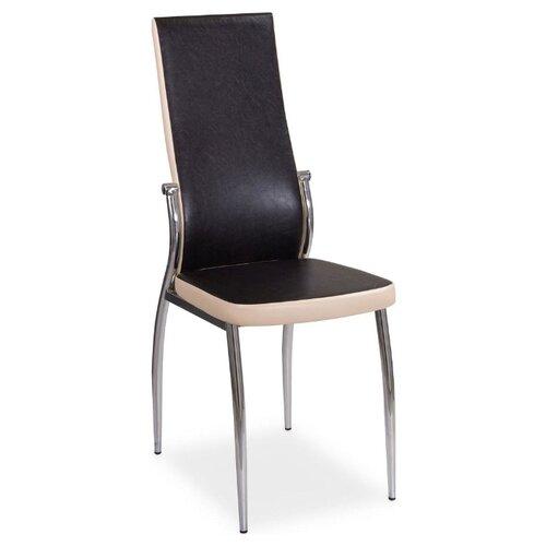 Стул Домотека Милано, металл/искусственная кожа, цвет: B4/B1 Темный Венге/ бежевый стул домотека милано металл искусственная кожа цвет d4 b1 темно коричневый с узором бежевый