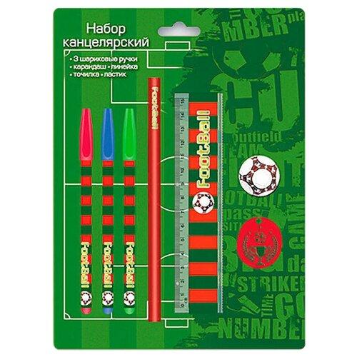 Канцелярский набор Феникс+ Футбол 38028, 7 пр., зеленый/красный значок зеленый футбол