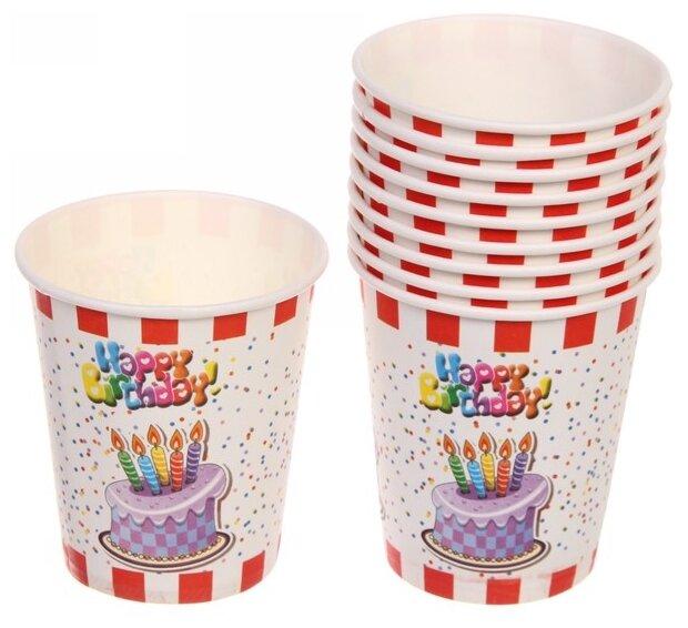 Florento Набор одноразовых стаканов Happy Birthday Свечки