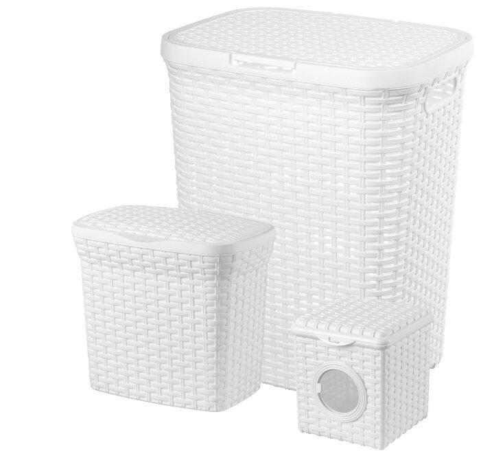 """Купить Набор из 3-х корзин для хранения """"Ротанг"""", цвет: белый, для белья 40 литров, для порошка 10 литров, для мелочей 3 литра по низкой цене с доставкой из Яндекс.Маркета (бывший Беру)"""
