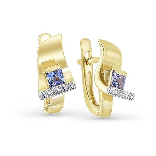 Мастер Бриллиант Золотые серьги с бриллиантом, танзанитом 2-107-373-31