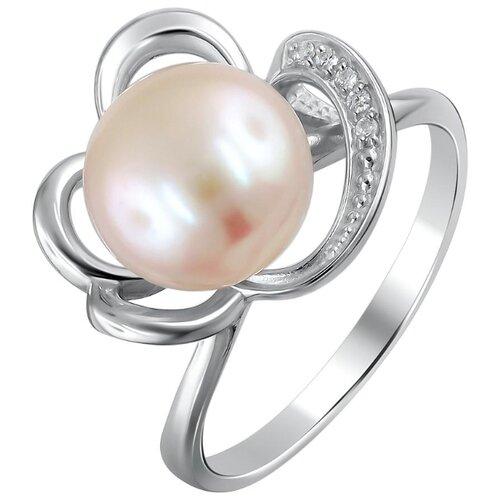 Эстет Кольцо с жемчугом и фианитами из серебра Л8К3518569, размер 17 ЭСТЕТ