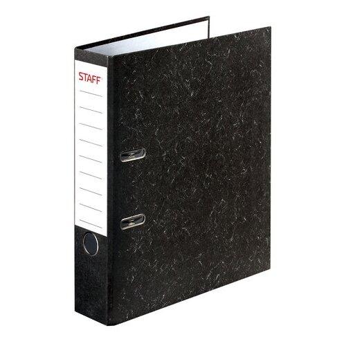 STAFF Папка-регистратор Бюджет с мраморным покрытием без уголка, А4, 50 мм черный под мрамор папка на 2 х кольцах galaxy а4 салатовая