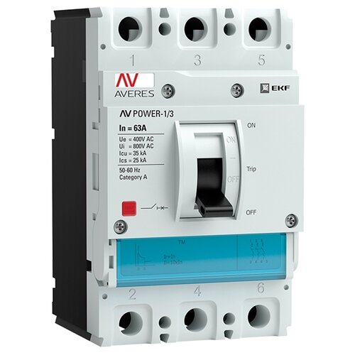 Автоматический выключатель EKF AV POWER-1/3 3P 35kA 63 А