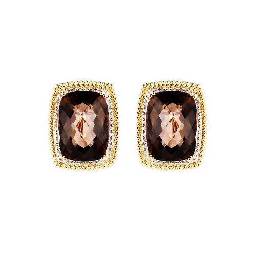 JV Серьги из золота с бриллиантами и топазами K015STC4YT-SQ-YG