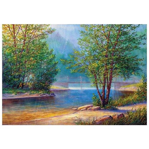 Алмазная вышивка Утро на берегу реки, Цветной, Алмазная мозаика  - купить со скидкой