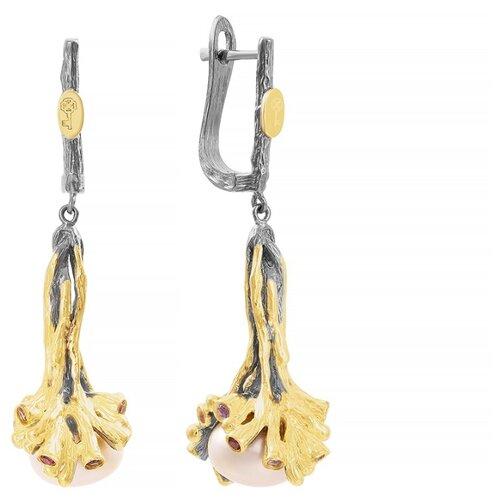 JV Серебряные серьги с аметистом, жемчугом, родолитом E01327-SR-AM-RH-WP-BJ