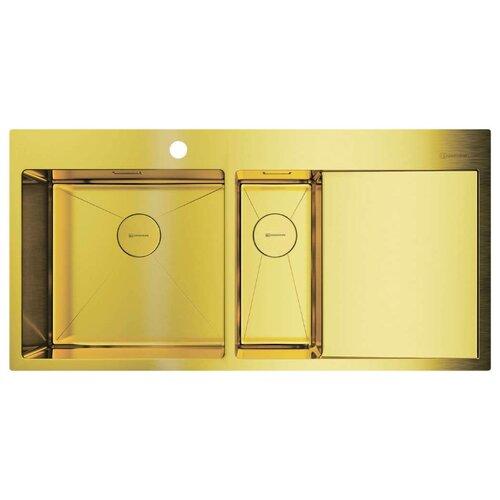 Фото - Врезная кухонная мойка 100 см OMOIKIRI Akisame 100-2-LG-L светлое золото врезная кухонная мойка 46 см omoikiri akisame 46 lg 4973081 светлое золото