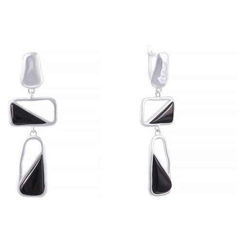JV Серебряные серьги с ониксом 0026106935-SR-OX-WG