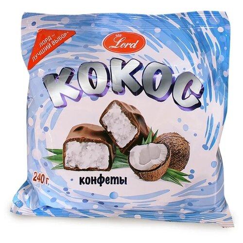 Конфеты Lord в шоколадной глазури Кокос 240 г бабаевский наслаждение конфеты с мягкой карамелью в шоколадной глазури 250 г