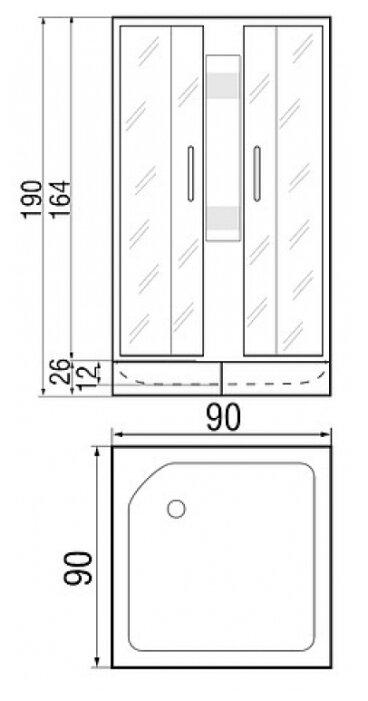 Душевая кабина River Neva 90/26 б/к средний поддон 90см*90см