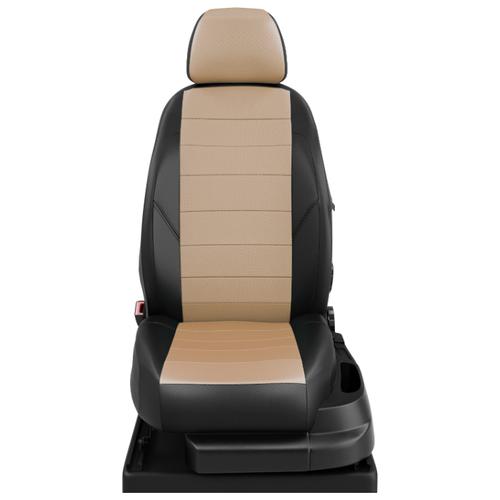 Авточехлы для Volkswagen Caddy с 2015-н.в. фургон 7 мест. TrendLine. Задние спинка и сиденье 40 на 60, третий ряд - двушка. Передний подлокотник, 7-подголовников (передние Активные) (Фольксваген Кадди). ЭК-04 бежевый/чёрный