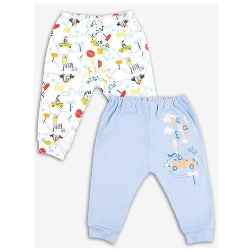 Купить Брюки Веселый Малыш 33320/Кта размер 74, белый/голубой/желтый, Брюки и шорты