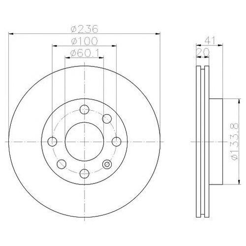 цена на Тормозной диск передний Valeo R3002 236x20 для Daewoo Nexia, Chevrolet Lanos