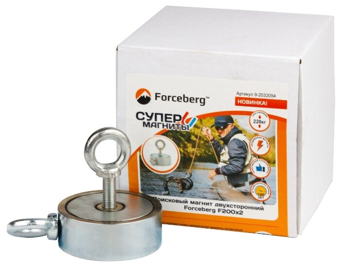 Купить Поисковый магнит двухсторонний Forceberg F200х2, сила сц. 220 кг по низкой цене с доставкой из Яндекс.Маркета