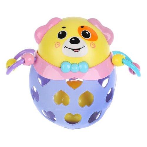 Купить Прорезыватель-погремушка SYOung Собака желтый/фиолетовый, Погремушки и прорезыватели