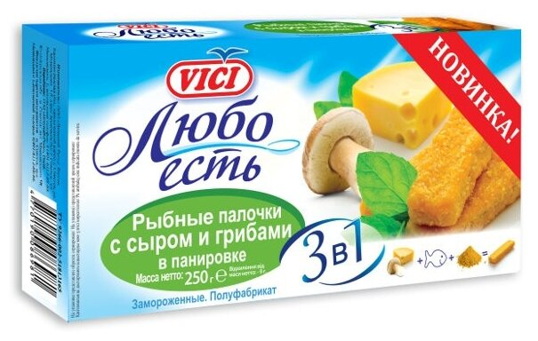 Vici Палочки рыбные Любо есть с сыром и грибами в панировке коробка 250 г