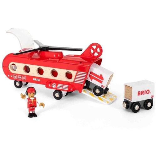 Купить Brio Вагон Грузовой вертолёт с вагонами , 33886, Наборы, локомотивы, вагоны