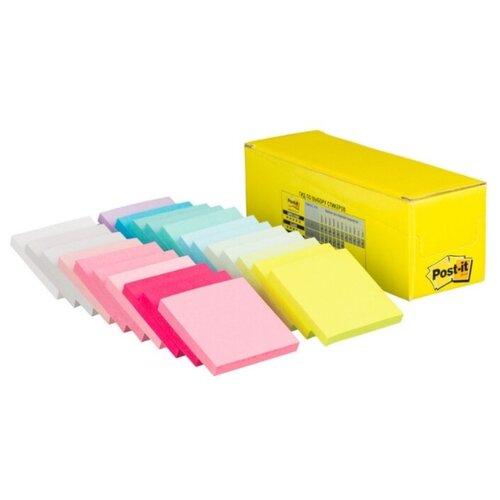 Купить Post-it Блок-кубик Конфетти, 76х76 мм 22 блока по 100 листов (654-CFT) желтый/розовый/голубой, Бумага для заметок