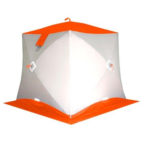 Палатка pinguin ПРИЗМА Шелтерс двухслойная белый/оранжевый палатка рыбака пингвин призма сиберия четырехслойная