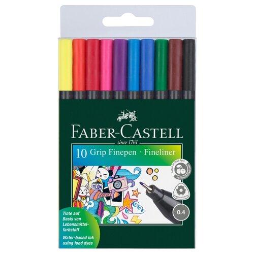 Faber-Castell набор капиллярных ручек Grip Finepen, 10 цветов, 0,4 мм (151610) ручка капиллярная faber castell grip finepen синяя трехгранная корпус черный 0 4 мм 151651