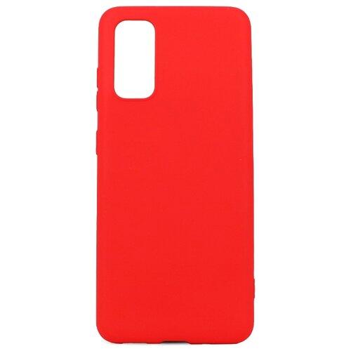 Силиконовый чехол для Samsung Galaxy S20 / С бархатистым покрытием внутри / Чехол 360 градусов с противоударными бортами / Чехол с функцией защитного стекла для камеры (Красный) чехол
