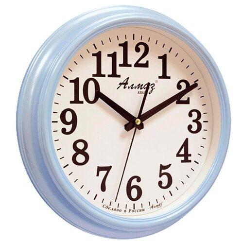 Часы настенные кварцевые Алмаз A79-A85 голубой/белый часы настенные кварцевые алмаз a79 a85 бежевый белый
