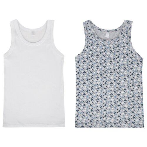 Купить Майка Leader Kids 2 шт., размер 122-128, белый/серый, Белье и пляжная мода
