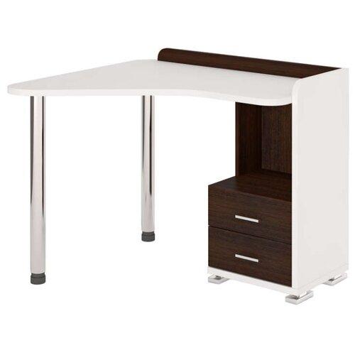Компьютерный стол Мэрдэс Домино СКМ-55, 110х89.7 см, угол: слева, тумба: справа, цвет: белый жемчуг/венге