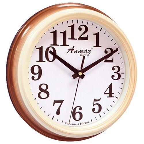 Часы настенные кварцевые Алмаз C51-C54 коричневый/белый