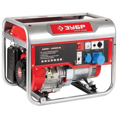 Бензиновый генератор ЗУБР ЗЭСБ-4500 (4000 Вт) генератор бензиновый зубр зэсб 4000 э