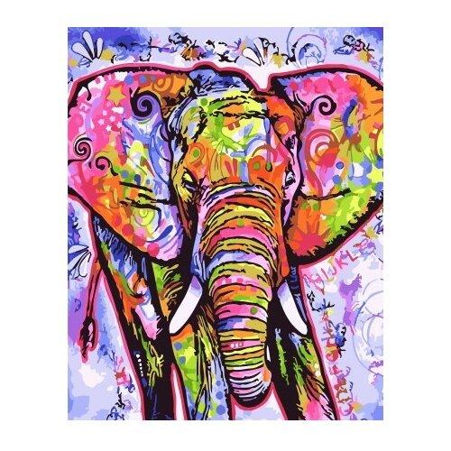 Купить ВанГогВоМне Картина по номерам Цветной слон , 40х50 см (ZX 22202), Картины по номерам и контурам