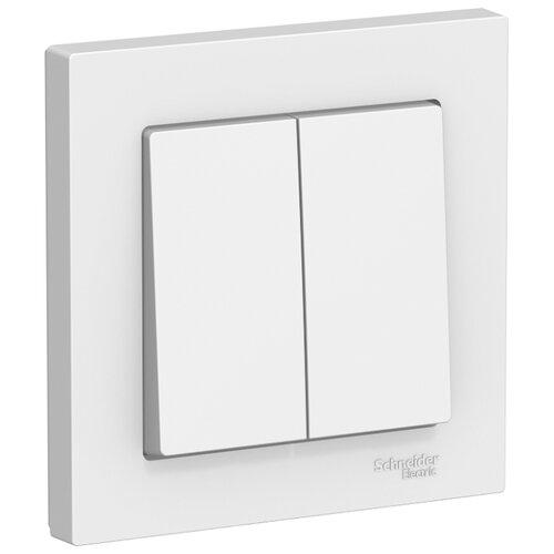 Выключатель 2х1-полюсный Schneider Electric ATN000152 AtlasDesign, 10 А, белый выключатель 1 полюсный schneider electric atn000211 atlasdesign 10 а бежевый